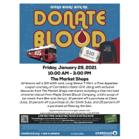 "The Market Shops to Host January OneBlood Drive ""All Donations Will Be Screened for COVID-19 Antibod"