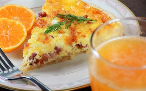 Sample breakfast - quiche and fresh squeezed orange juice