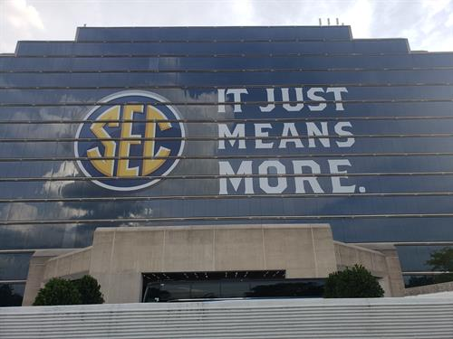 SEC Media Days - window graphics on front of Wynfrey Hotel at Galleria