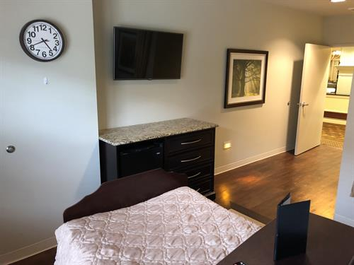 All of the rooms feature a flat screen TV (with plenty of channels) and a mini-fridge.