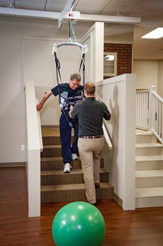 Hardwood and carpeted stairs are perfect for practice before going home.