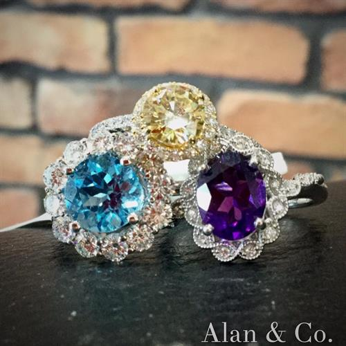 Beautiful gemstone and diamond rings