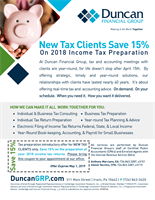 Duncan Financial Group Is Proud to Announce Savings For New Tax Clients!