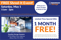 Guardian Storage to host community Shred-It event!