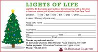 Light the St. Barnabas Tree and Raise Money for Free Care. Dedicate a Light for a Loved One.