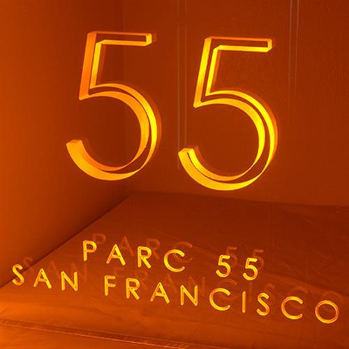 Laser cut, backlit hotel sign