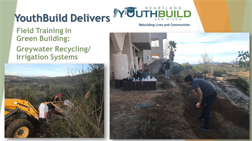 YouthBuild students trenching for a recycled greywater irrigation system.