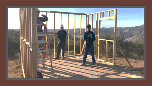 YouthBuild students framing a town shed in Lakeside, CA.