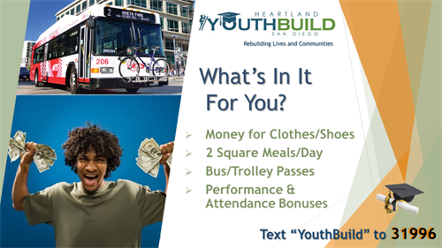 YouthBuild students receive free bus/trolley transportation and 2 square meals a day.