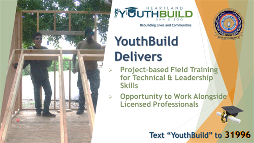 YouthBuild students work alongside licensed professionals building affordable homes.