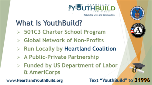 Locally, YouthBuild is run by the non-profit Heartland Coalition.