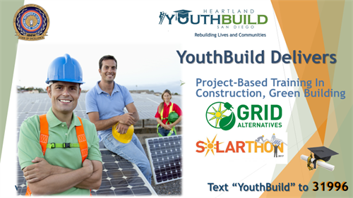 YouthBuild delivers boots-on-the-roof training in green building and solar with fellow non-profits like GRID Alternatives.