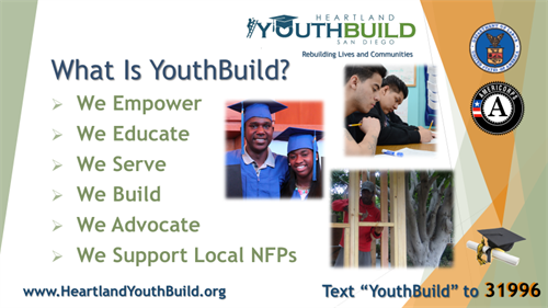 YouthBuild students receive project based training building affordable homes in the greater San Diego community.