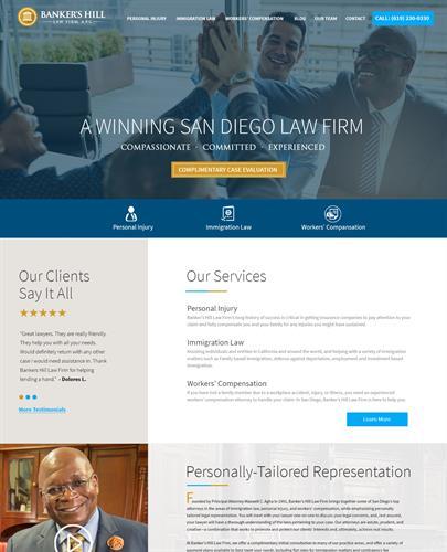 Banker's Hill Law Firm branding, custom website design and development