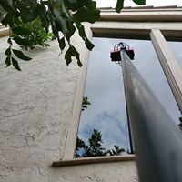 We can clean windows upto 4 floors from the ground