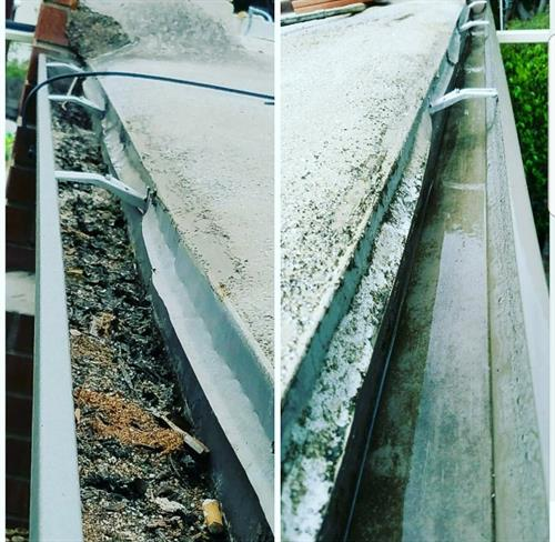 Gutter Cleaning before and after. Clogged gutters are a fire hazzard