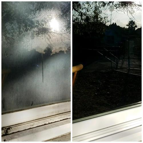 Before and after of a window that has been restored
