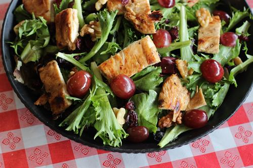 Chicken walnut salad with poppyseed dressing.