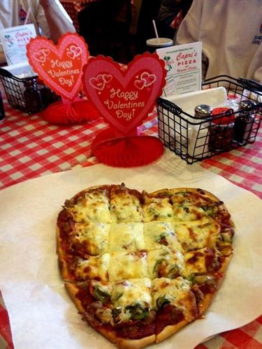 We serve heart-shaped pizzas every Valentine's Day