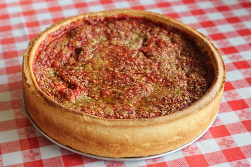 Chicago-style stuffed pizza.