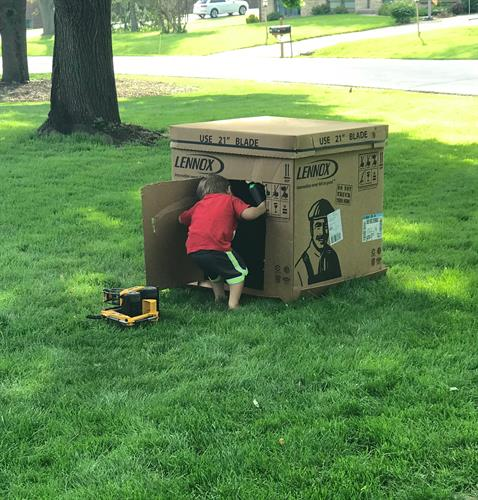 After completing an installation yesterday, our installers took a minute to lend a hand and help the little guys with their new fort.