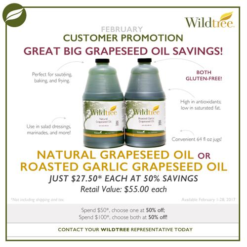 Wildtree Promotion - 50% off Grapeseed Oil