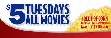Tickets are just $5 every Tuesday all day!  Magical Movie Rewards members receive a free popcorn!