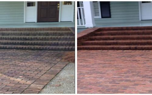 Brick Sidewalk Cleaning