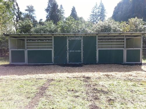 two stalls and storage room