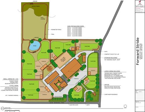 Masterplan for the new Forward Stride Facility in Beaverton on 20 acres. Housing for 30+ horses and numerous clients, volunteers and programs