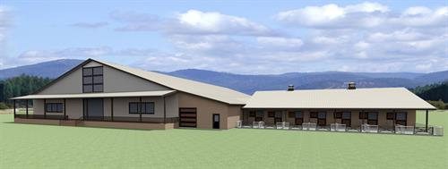 120' x 240' Arena for 20 stall training facility