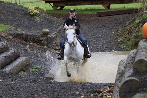 Splashing thru obstacle at Bolender Horse Park