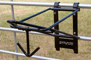 The TACK-N-GO portable folding saddle rack is the professional's choice for keeping saddles and equipment handy in any location.