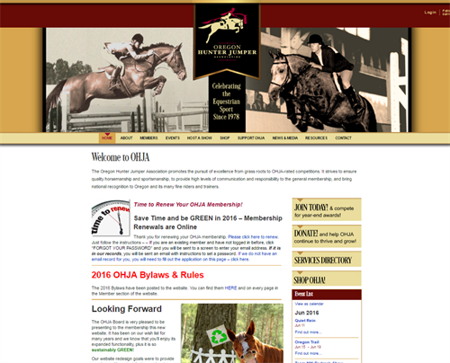 MC2 designed & developed Oregon Hunter Jumper Association's website and membership database