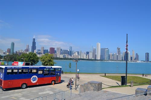 Chicago's skyline view at the Museum Campus stop- Historic South Side Tour.