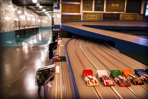 Slot Car tracks in the basement at FieldHouse Jones