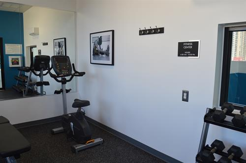 Fitness room is located in pool ares
