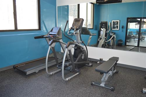Fitness room with cardio and free weights