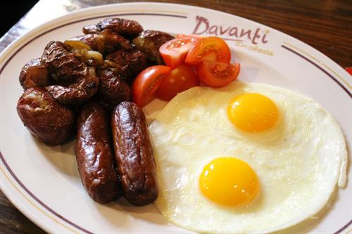 traditional breakfast ...  two eggs + breakfast potatoes +  Davanti's thick cut bacon or sausage + toast