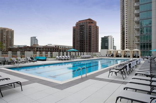 Outdoor Pool and Spa with City Views