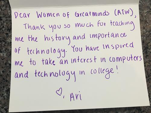Thank you note from DFW ATW GREATMINDS at Coppell Wilson Elementary