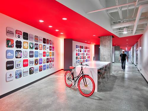 The lobby - and the infamous logo wall