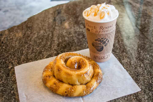 Espresso drinks and freshly baked Cinnamon Rolls