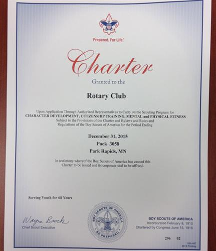 Rotary has sponsored Cub Scout Pack 58 since 1948