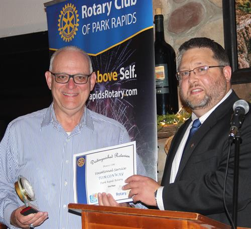 Tom Conway won the Rotary Dist. 5580 award for vocational service