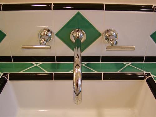 August Residence - San Jose, CA: Art Deco bathroom detail