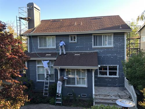 Work in progress in Corte Madera, scaffold rental needed