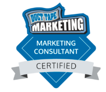 A Duct Tape Marketing Consultant has completed an extensive online certification process containing modules and lessons covering every element of small business marketing today. This training is coupled with Core in-person training and testing. Certified members also participate in an ongoing business and marketing development curriculum designed around relevant and evolving marketing topics. This badge ensures you are working with a fully trained marketing professional.