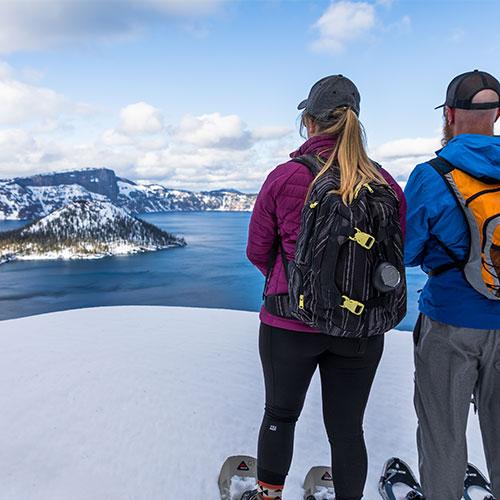 Snowshoeing tour at Crater Lake National Park