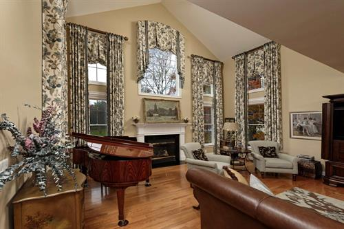 This Vienna VA Great Room custom window treatment design won 1st place in Specialty window Treatments at the International Window Coverings Expo Design Competition in 2020.